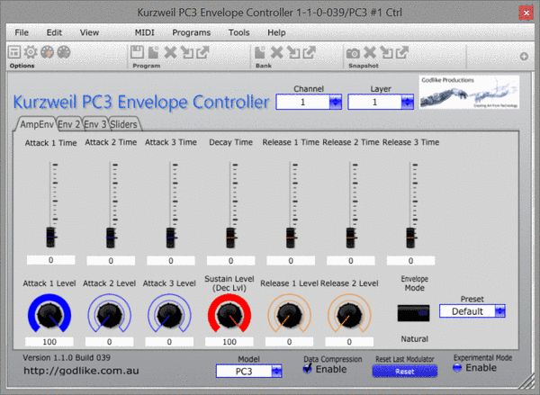 PC3 Envelope Control Screen